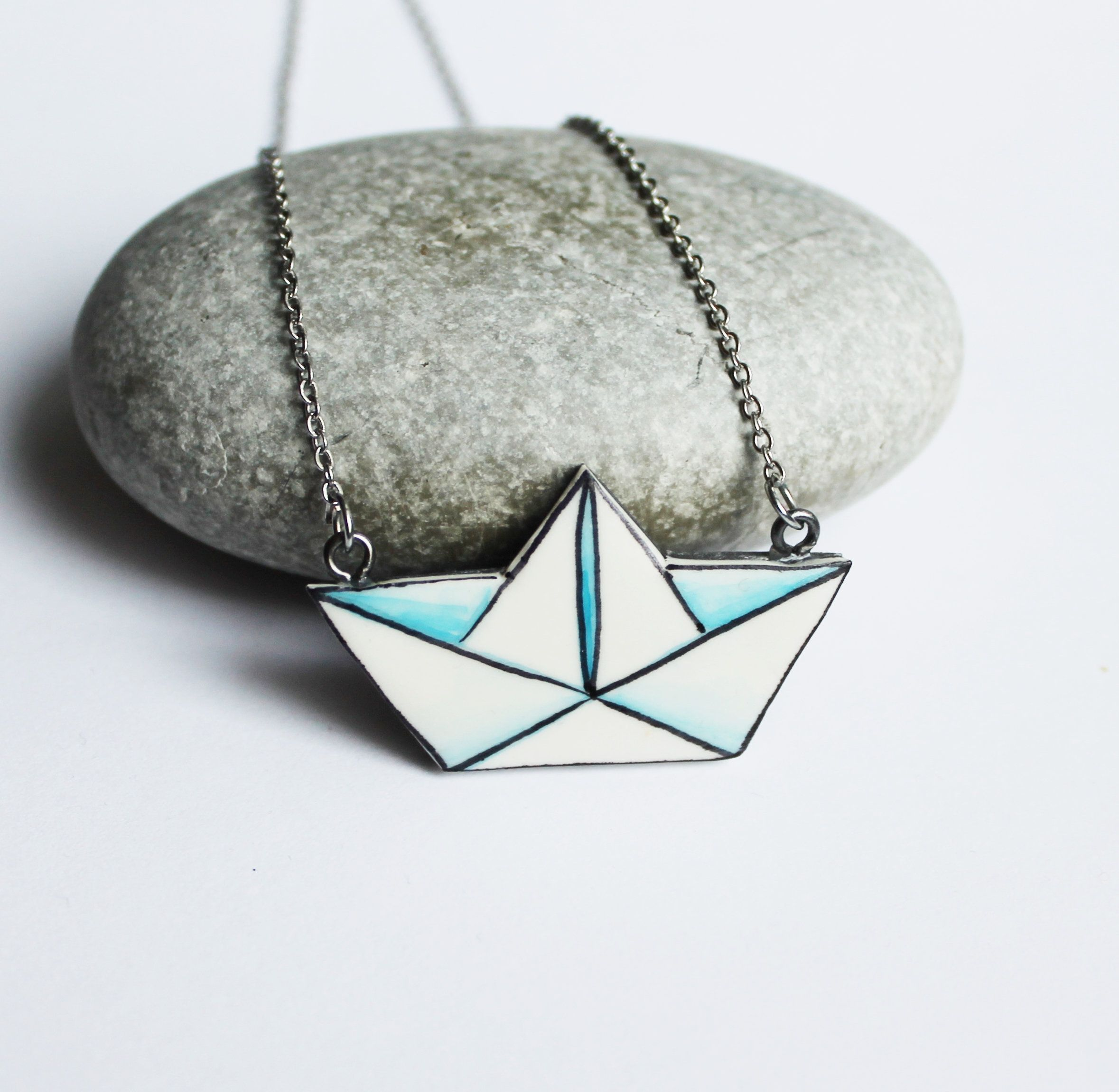 Origami Paper Boat Handmade Polymer Clay Minimalist Brooch  Unique Hand Painted Pin Gift