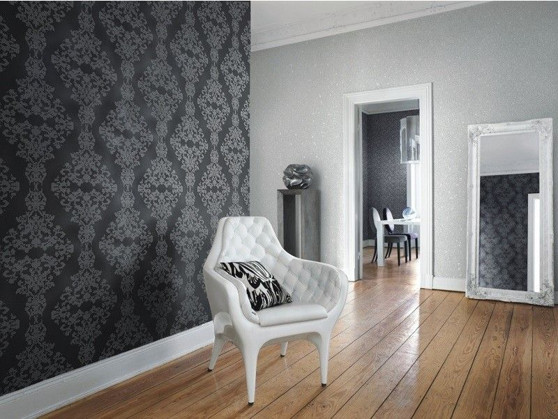 rasch diamond dust vliestapete 450439 barock punkte anthrazit ... - Wohnzimmer Design Tapeten