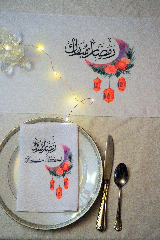 2 Ramadan Fabric Napkins Iftar Table Decoration Ramadan Table Setting Ramadan Decor Ramadan Gift Ramadan Party Supply Eid Decoration In 2021 Ramadan Table Decor Fabric Napkin Eid Decoration Table