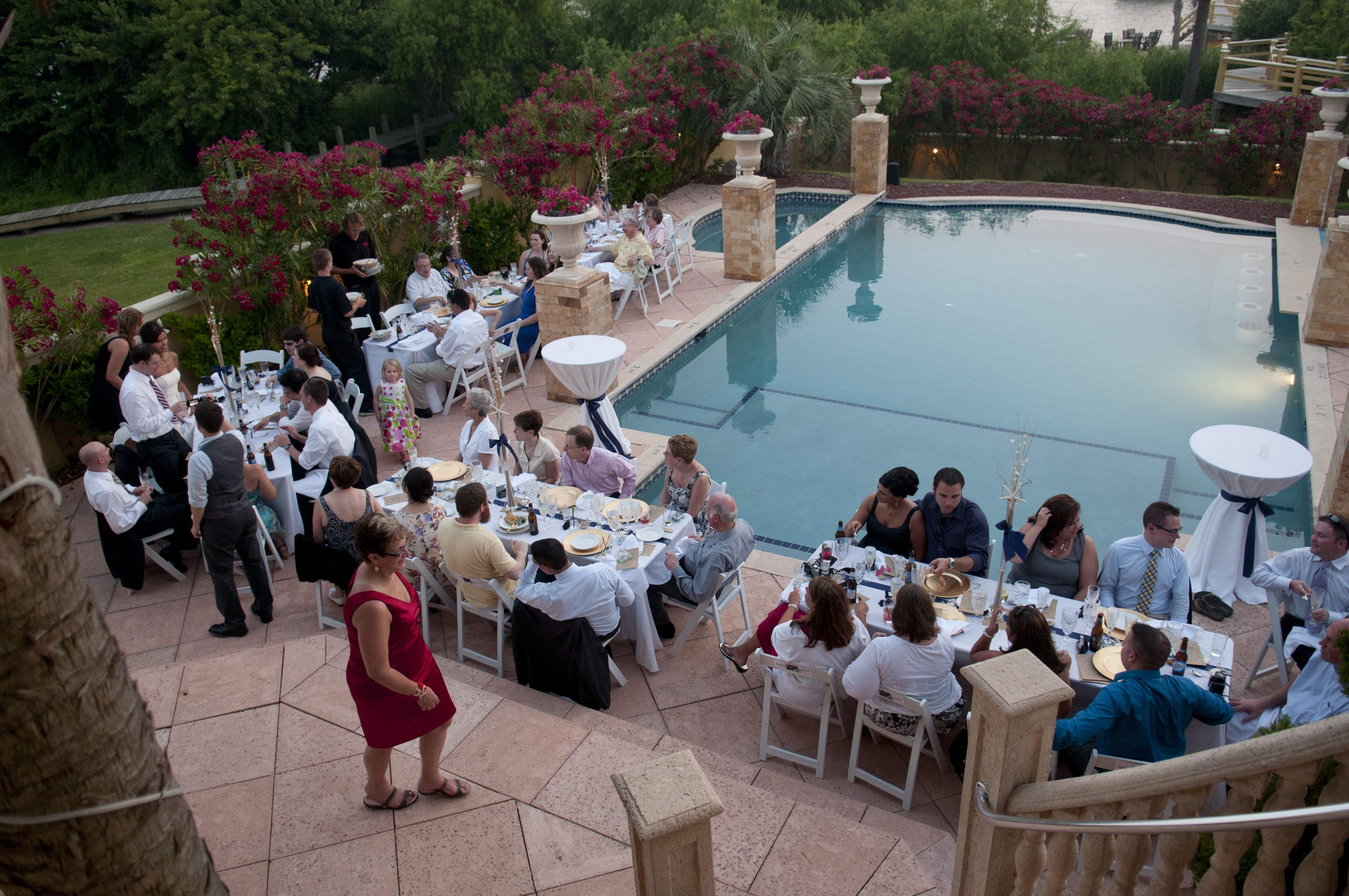 Poolside Reception.   Pool wedding, Wedding pool party ...