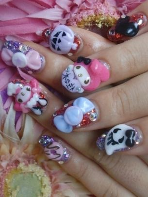 Overdressed nails pinterest nail nail nail color designs my melody japanese nail art that ghost is so cute prinsesfo Image collections