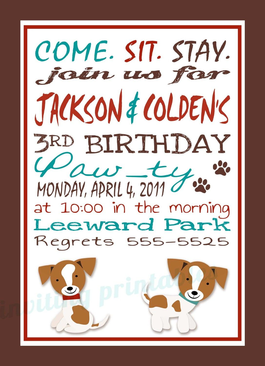 Invitation Wording Puppy Party Invites Puppy Party Puppy Party Theme