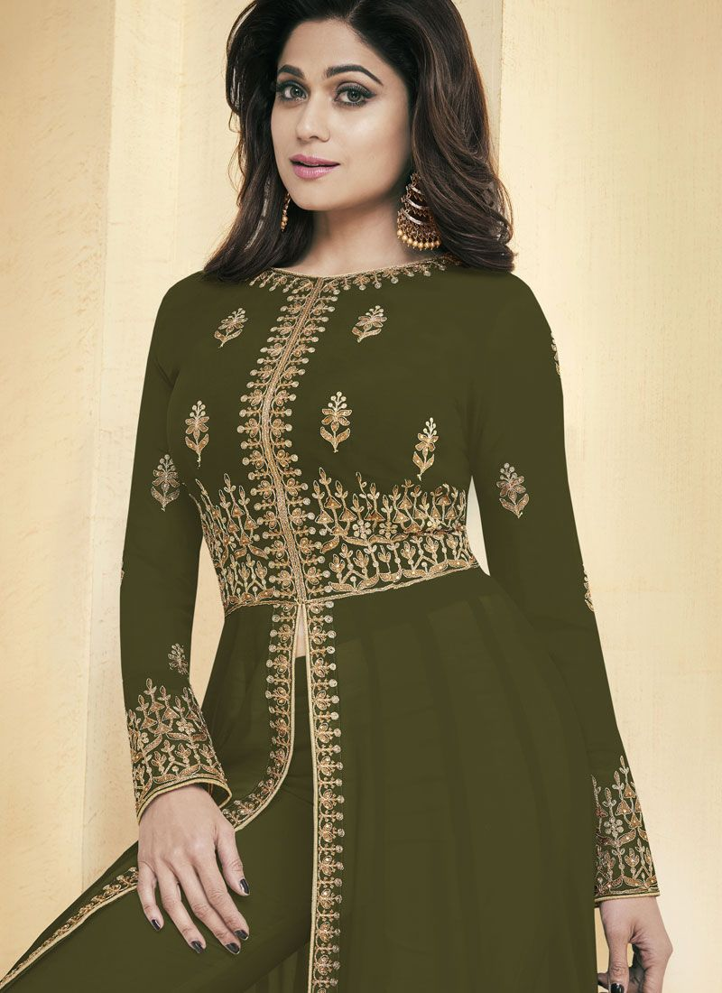 998b8a4826 Shamita Shetty Resham Green Faux Georgette Floor Length Anarkali Suit