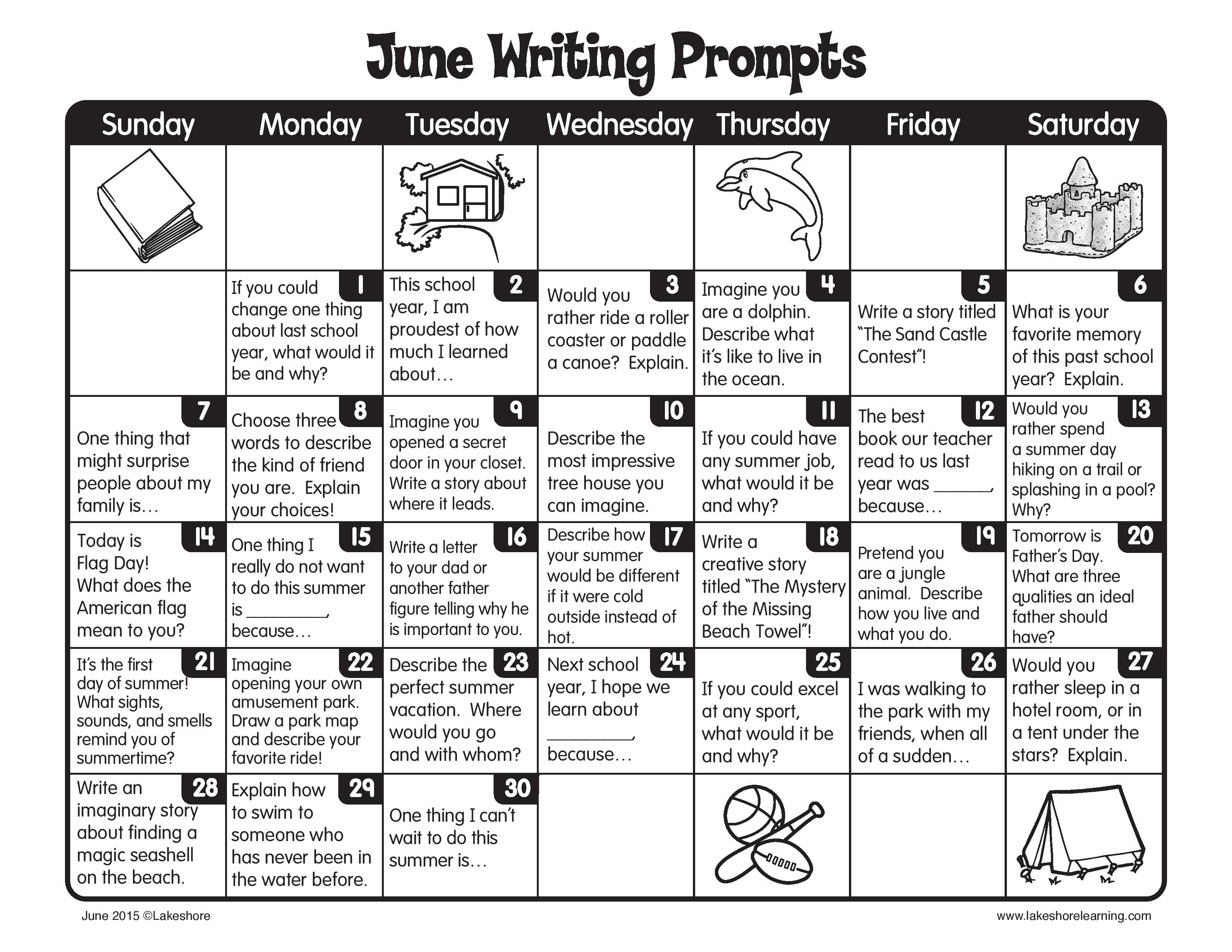 Keep Writing Through The Summer With June Writing Prompts
