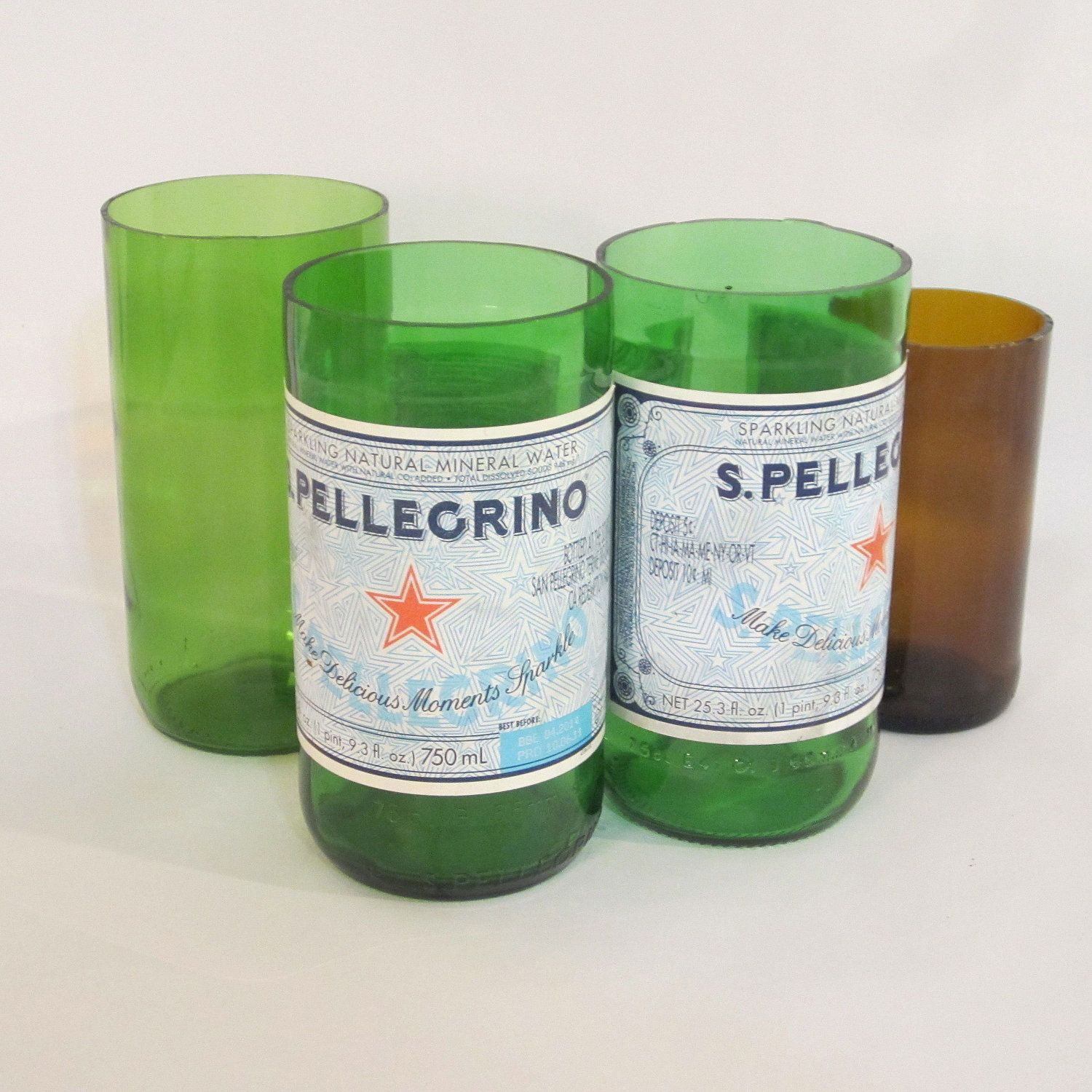 Great use for my old san pellegrino bottles glasses and for Alcohol bottles made into glasses