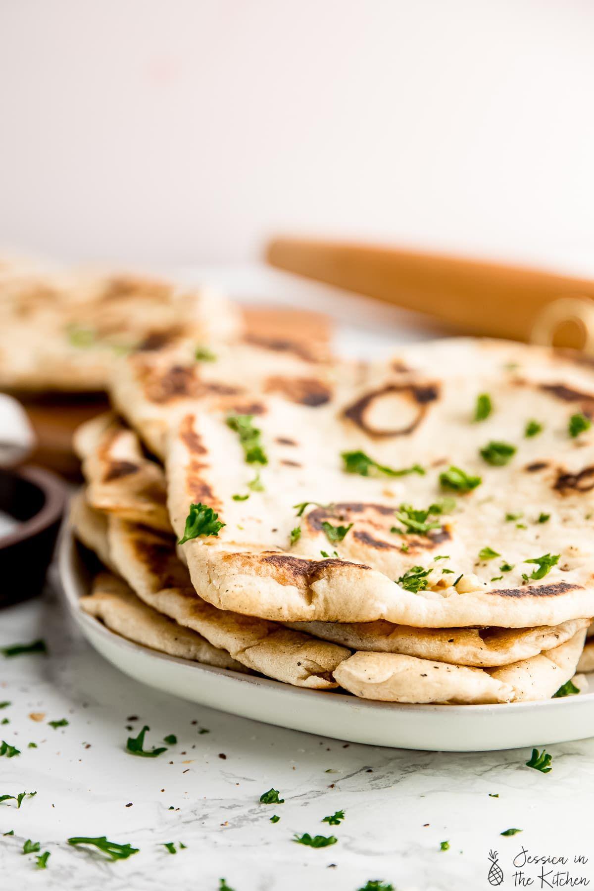 Vegan Naan Recipe Indian Flatbread Soft Fluffy Recipe In 2020 Naan Recipe Vegan Naan Naan Bread