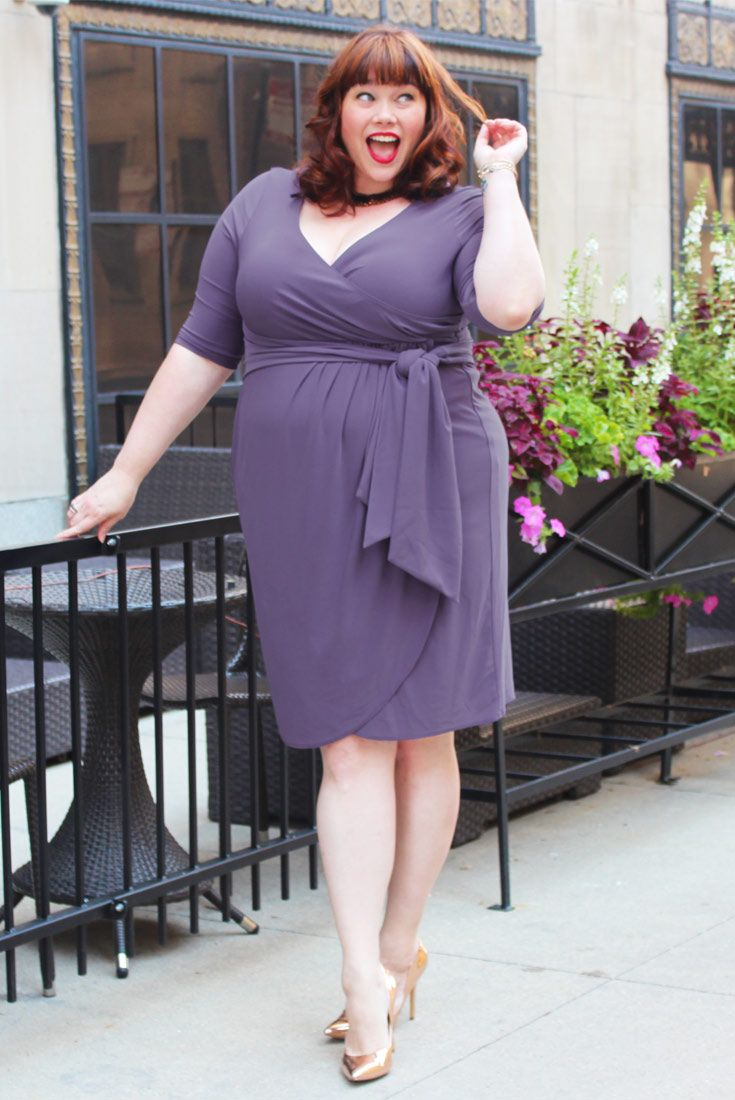 9275c02b5d5c ... is completely in love with our Lavender Fields plus size Harlow Faux  Wrap Dress. Shop our entire made in the USA collection online at www.kiyonna .com.
