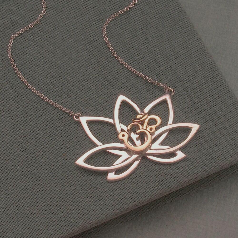 14k gold om on lotus flower pendant