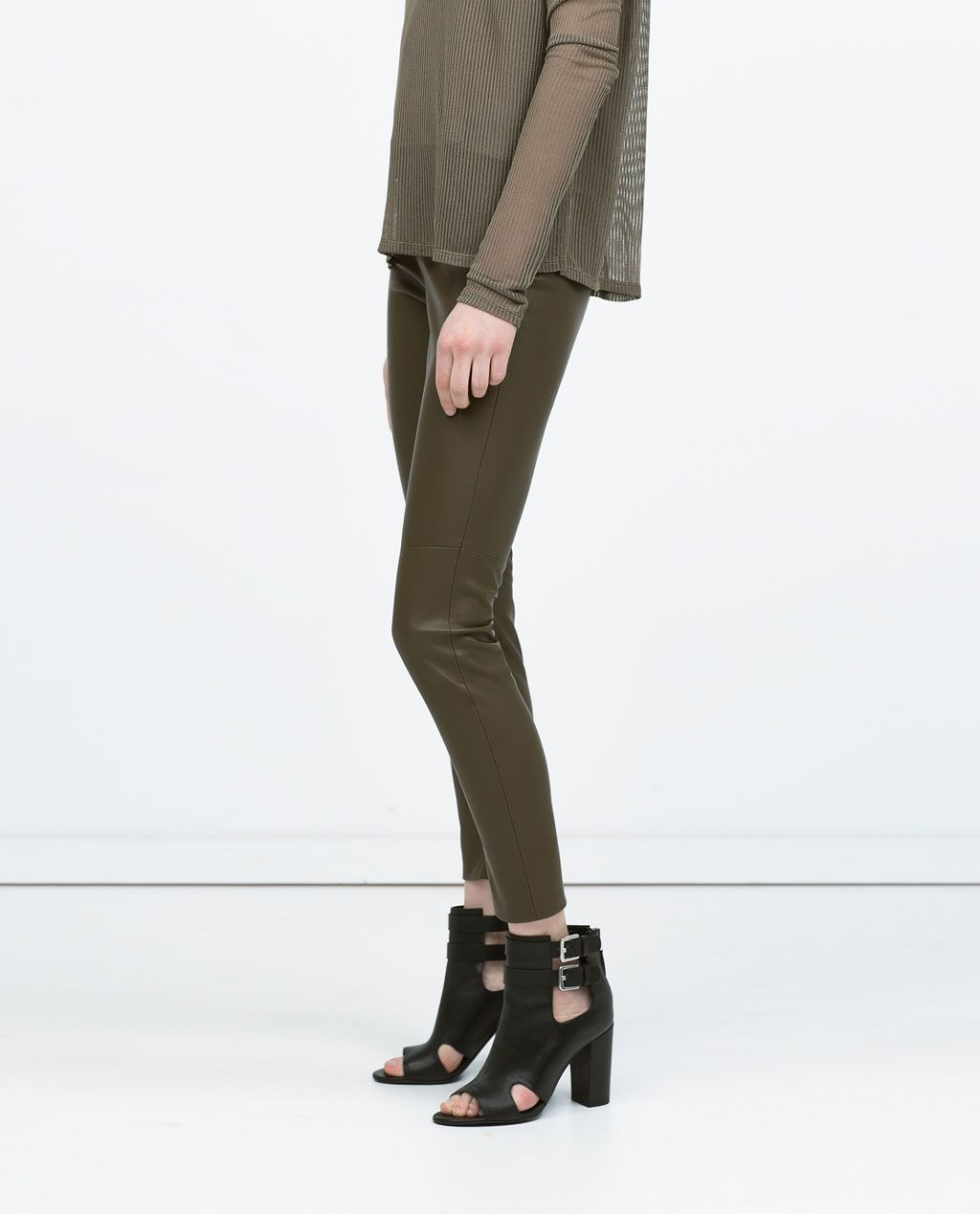 8370f0f7 Image 1 of FAUX LEATHER LEGGINGS WITH SEAM AT THE KNEE from Zara ...