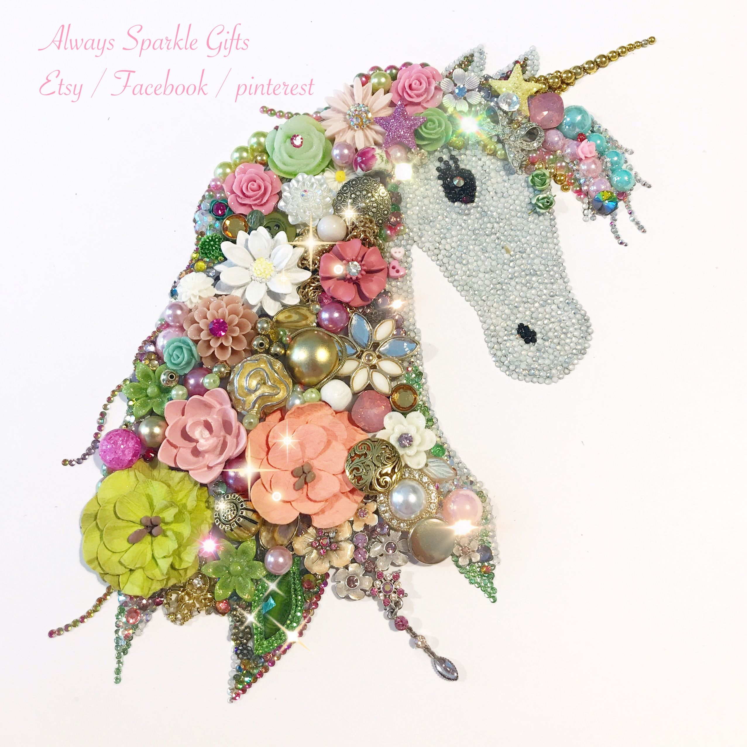 Vintage unicorn made out of lots of old vintage pieces of