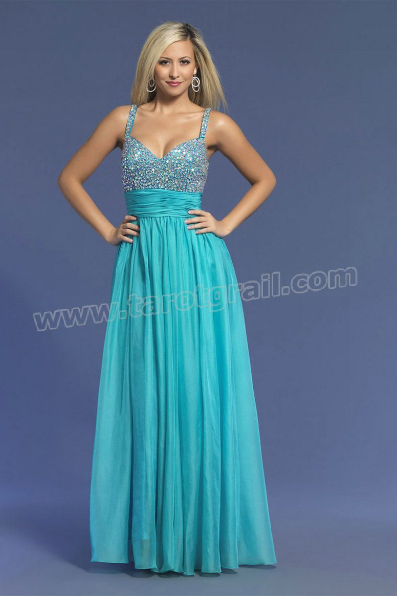 Beaded straps floor length blue prom dress evening dresses