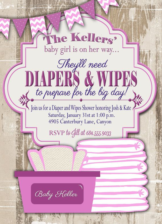 Baby Shower Invitation Diaper And Wipes Baby By Gracenldesigns