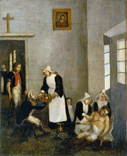 The plight of the French army in Vilnius in 1812 Nuns tend to injured French soldiers in the hospital of the Missionary Monastery in Vilnius. Unknown artist. 1st half of the 19th c.