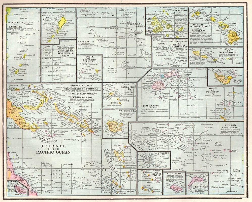 Details About Map Pacific Ocean Islands Fiji Santa Cruz Galapagos