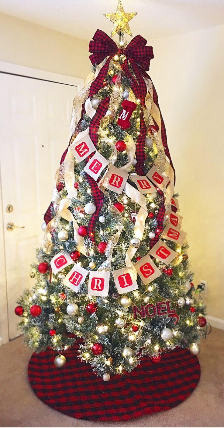 Christmas Tree With Buffalo Plaid And Burlap Decor Sequin Christmas Tree Topper And Sequin Ribbon On Christmas Tree Christmas Tree Bows Plaid Christmas Decor