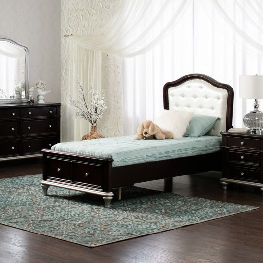 For a bit of girly glam, the Sophia has an upholstered headboard ...