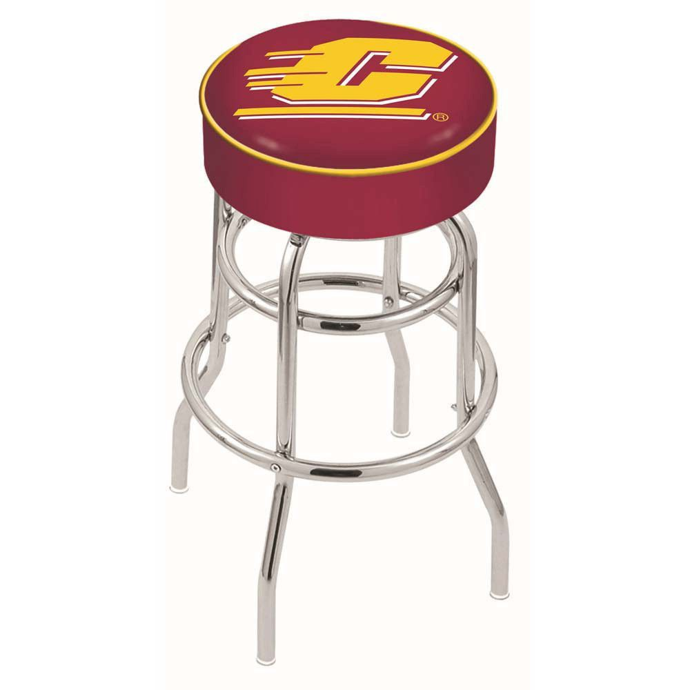 Central Michigan Chippewas Double Ring Chrome Swivel Bar Stool