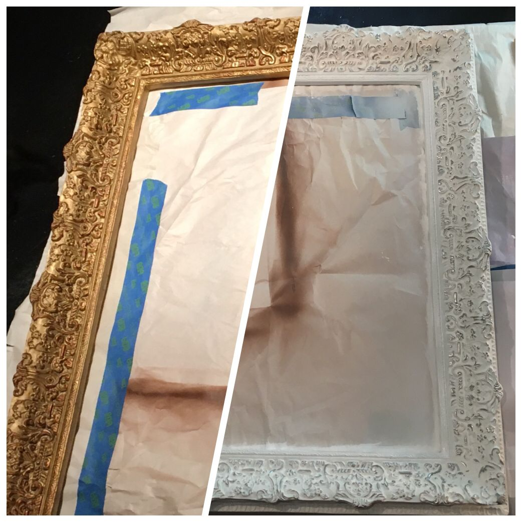 Update An Old Brass Or Gold Mirror Picture Frame With Spray Paint Use Metallic Leaf Paint Painting Mirror Frames Antique Mirror Frame Mirrored Picture Frames