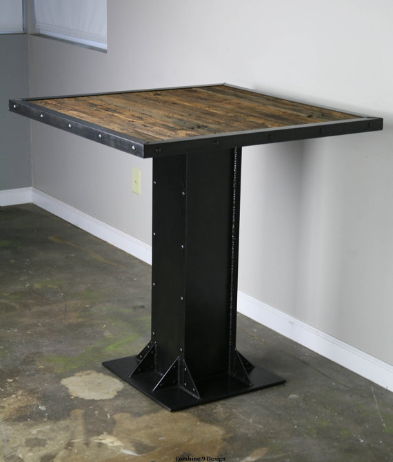 Reclaimed Wood Bistro Table Modern Industrial Style Dining Table