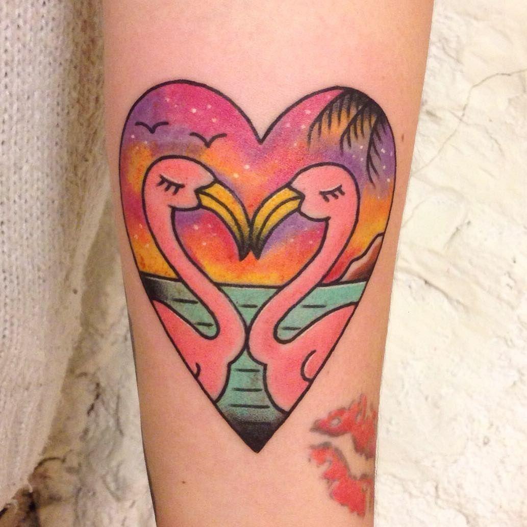 Tattoo heart flamingo old school tattoo pinterest for Tattoo school listings