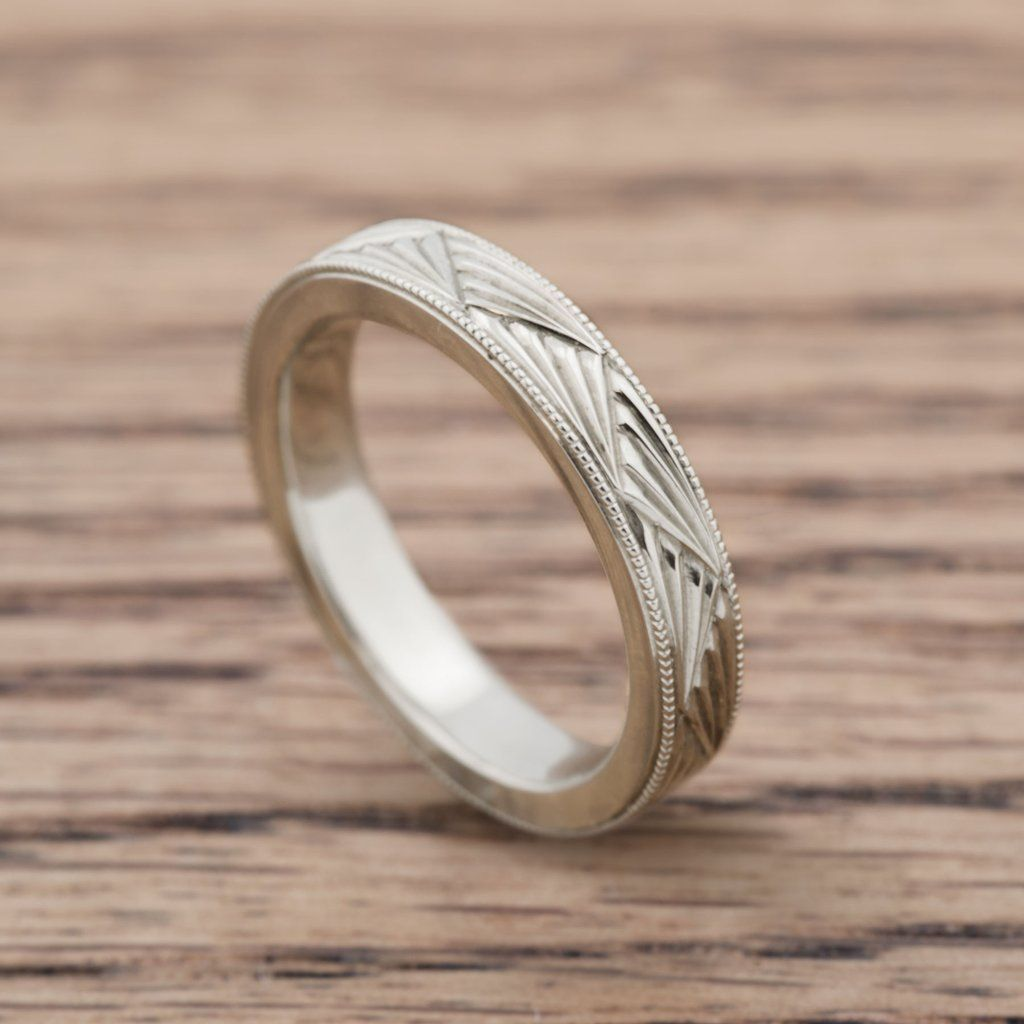Art Deco Fan Vintage Style Hand Engraved White Gold Wedding Ring Era Design Vintage Style Wedding Rings Gold Art Deco White Gold Wedding Rings
