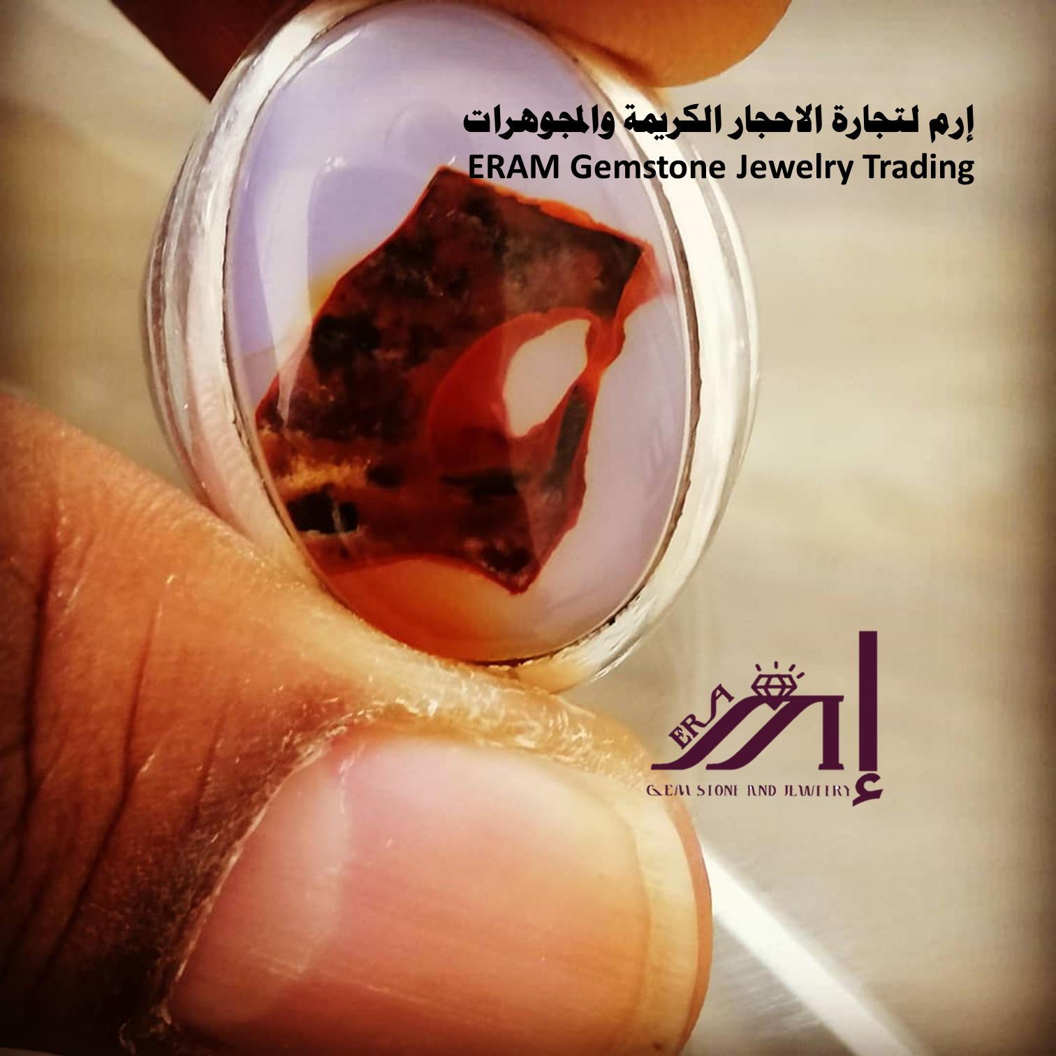 خاتم ملكي رجالي عقيق يمني مزهر مميز طبيعي100 Agate للعرض Gemstone Jewelry Gemstones Jewelry