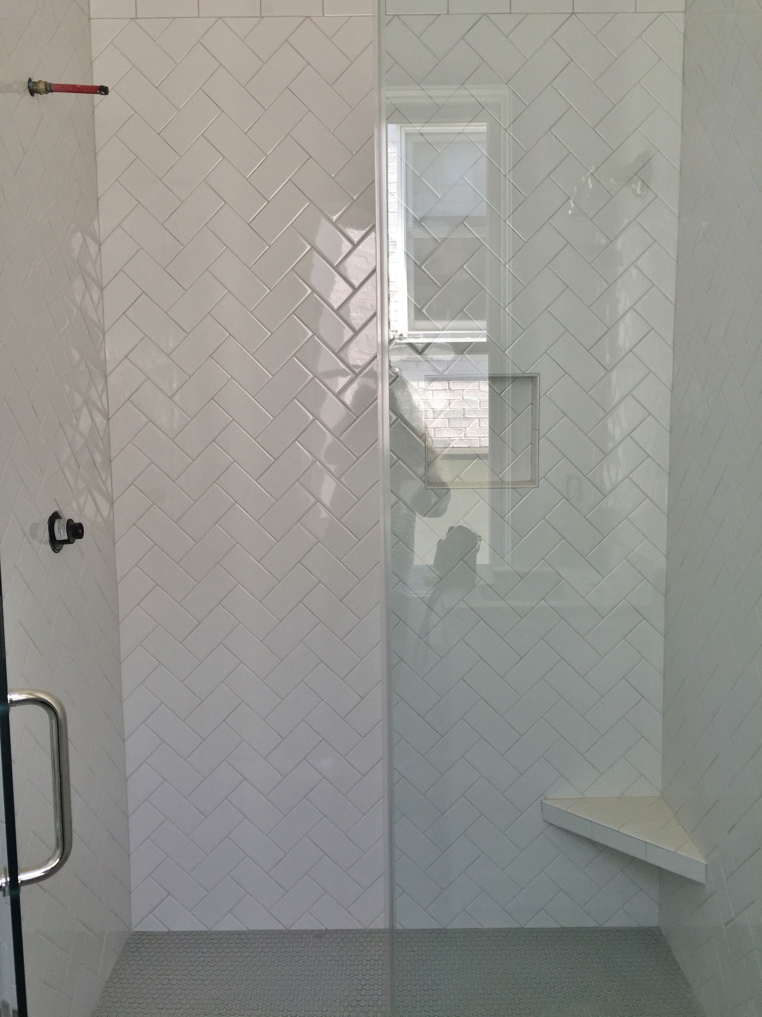3x6 White Subway Tile Set In Herringbone Pattern Gray Penny