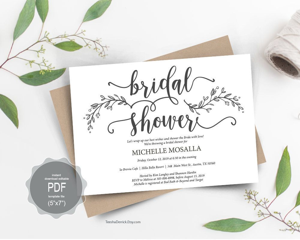 Bridal Shower Card Template Instant Download Editable Pdf Template Kraft Rustic Botanic C Bridal Shower Cards Card Box Wedding Wedding Invitation Card Design