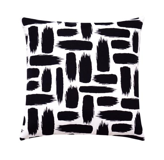 Black And White Outdoor Pillows Contemporary Black Pillow Abstract Outdoor Pillows Black Brush Strokes Accent Pillow Black Patio Cushion Outdoor Pillows Outdoor Pillow Covers Black Throw Pillows
