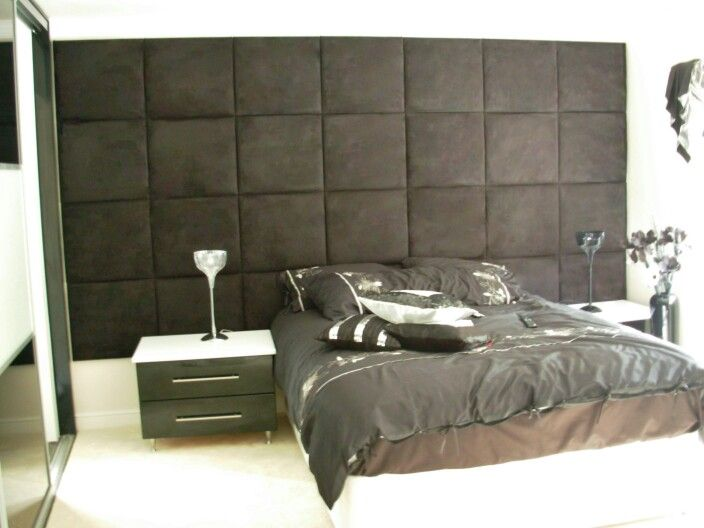 Chic Upholstered Wall Tiles In Faux Suede Chocolate