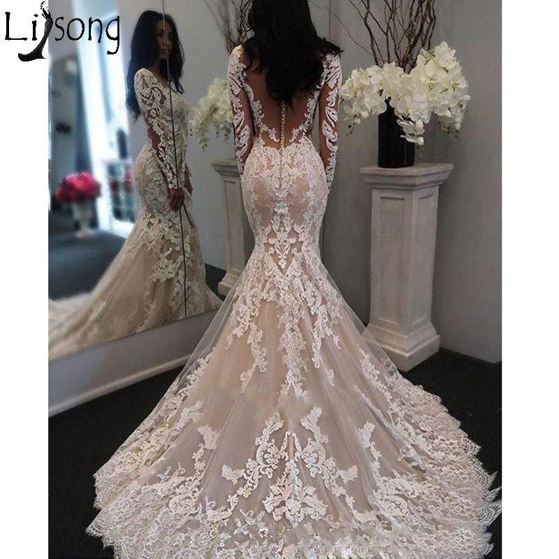 2019 New Illusion Long Sleeves Lace Mermaid Wedding Dress Tulle Appliques Court Train Eleg Lace Mermaid Wedding Dress Wedding Dresses Wedding Dress Long Sleeve