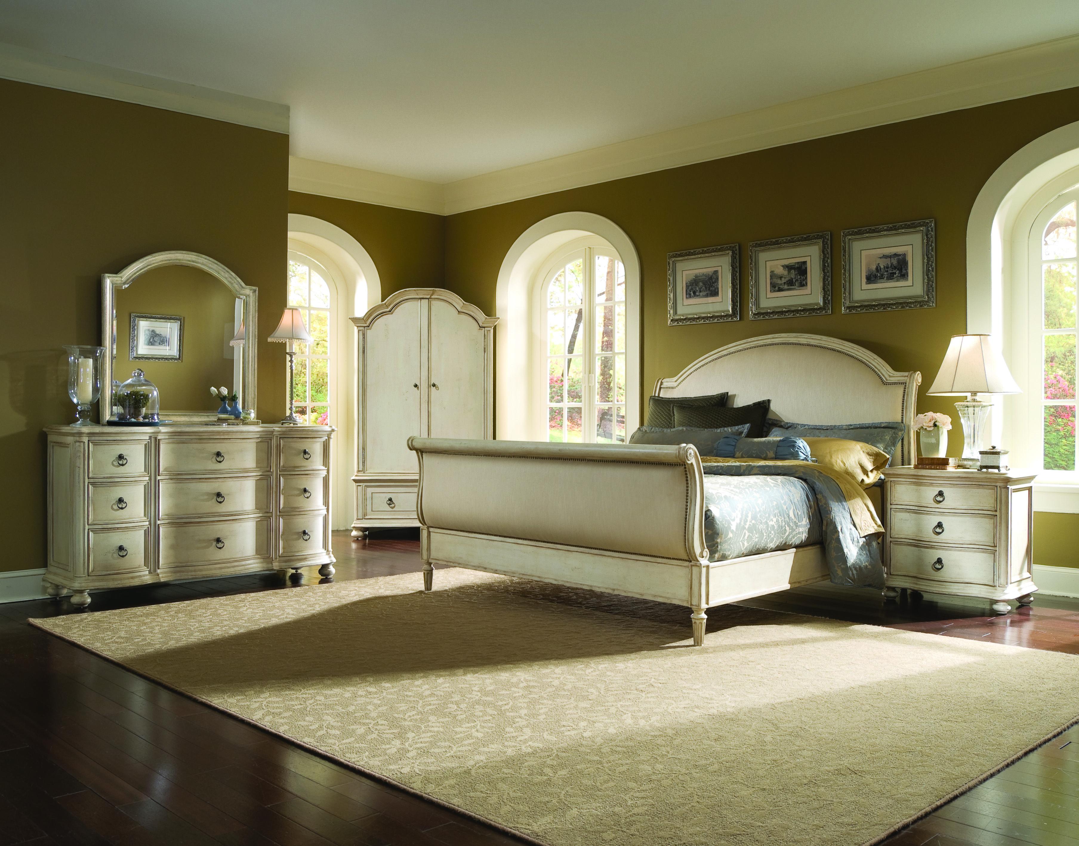 Provenance sleigh bed with wardrobe set triple dresser with bun