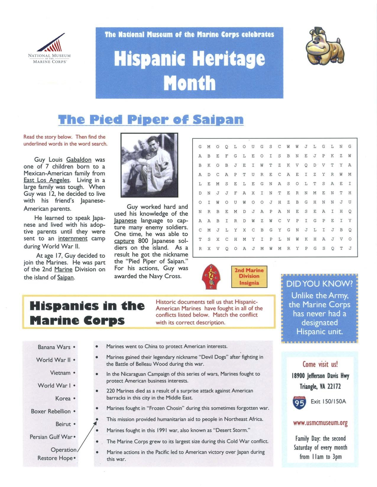 United States Marine Corps Hispanic Heritage Worksheet A