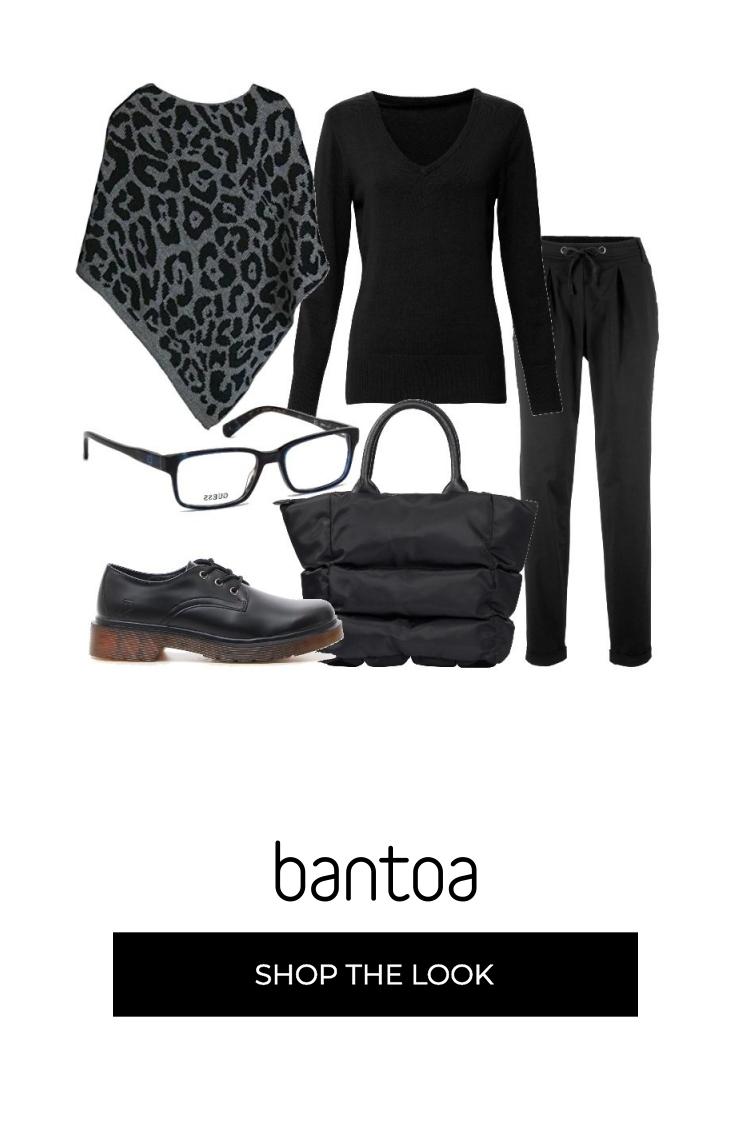 Pantalone nero in ciniglia, gamba svasata, pullover in