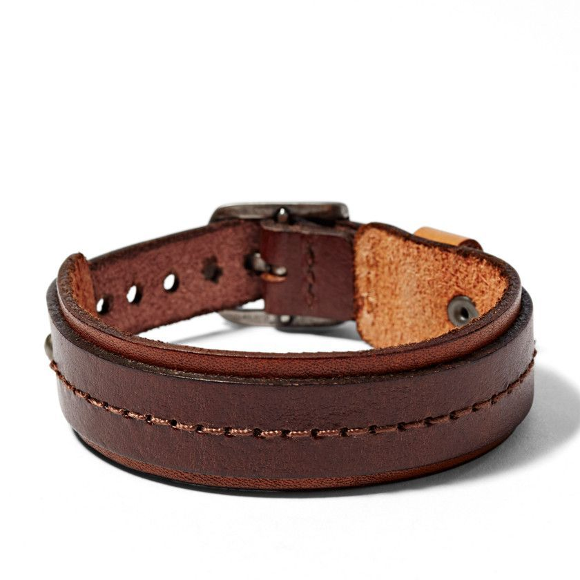 011174fa42a1 Fossil - Stitched Leather Bracelet