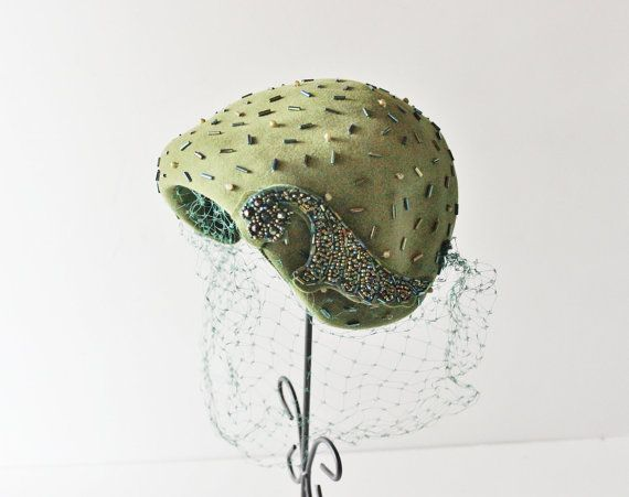 Vintage OLIVE Green Fascinator Hat - 1950s - Beads Veil - Janyth Roy NY