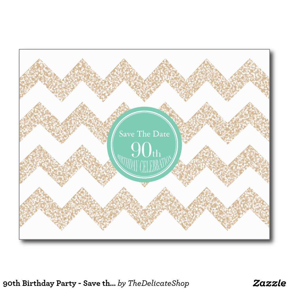 90th Birthday Party Save the Date Choose Color Postcard 90th