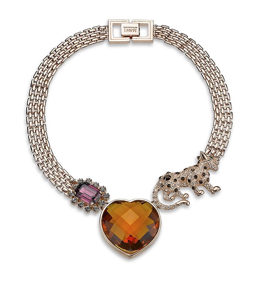 Mawi Crystal Panther And Heart Necklace | Harrods