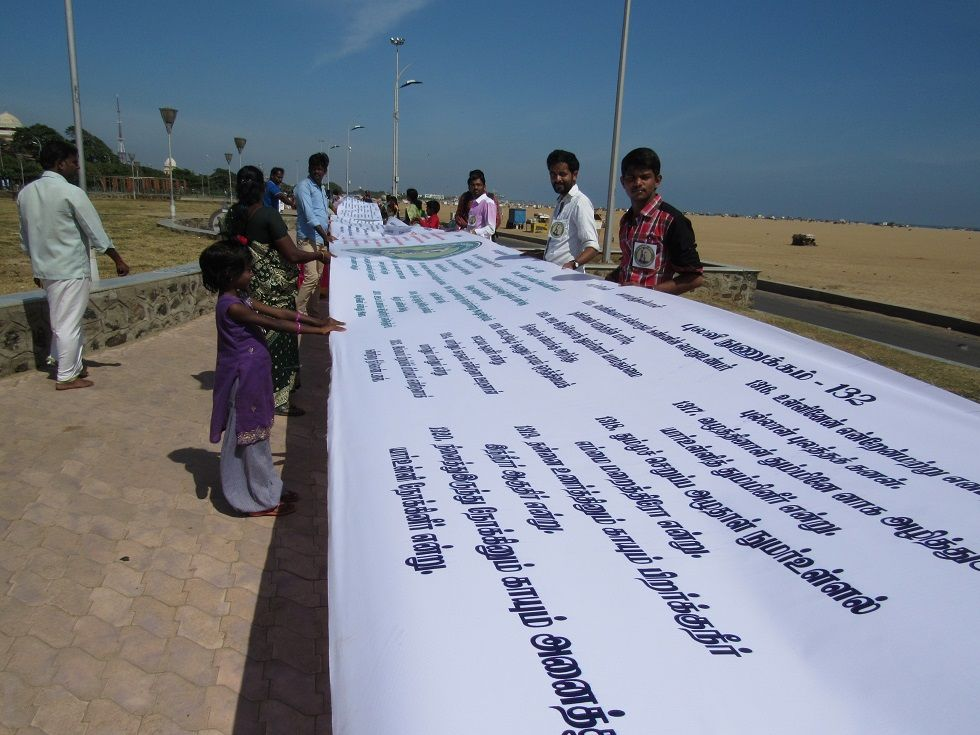 1330-feet Thirukkural banner at Marina beach, Chennai