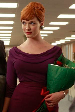 324a359b6 this is one of my favorite outfits from mad men. I love the royal purple  two piece ensemble!