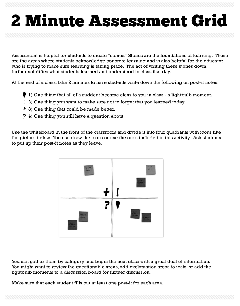 Minute Assessment Grid Great Formative Assessment Tool