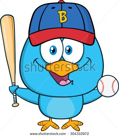 Happy Blue Bird Cartoon Character Swinging A Baseball Bat And Ball