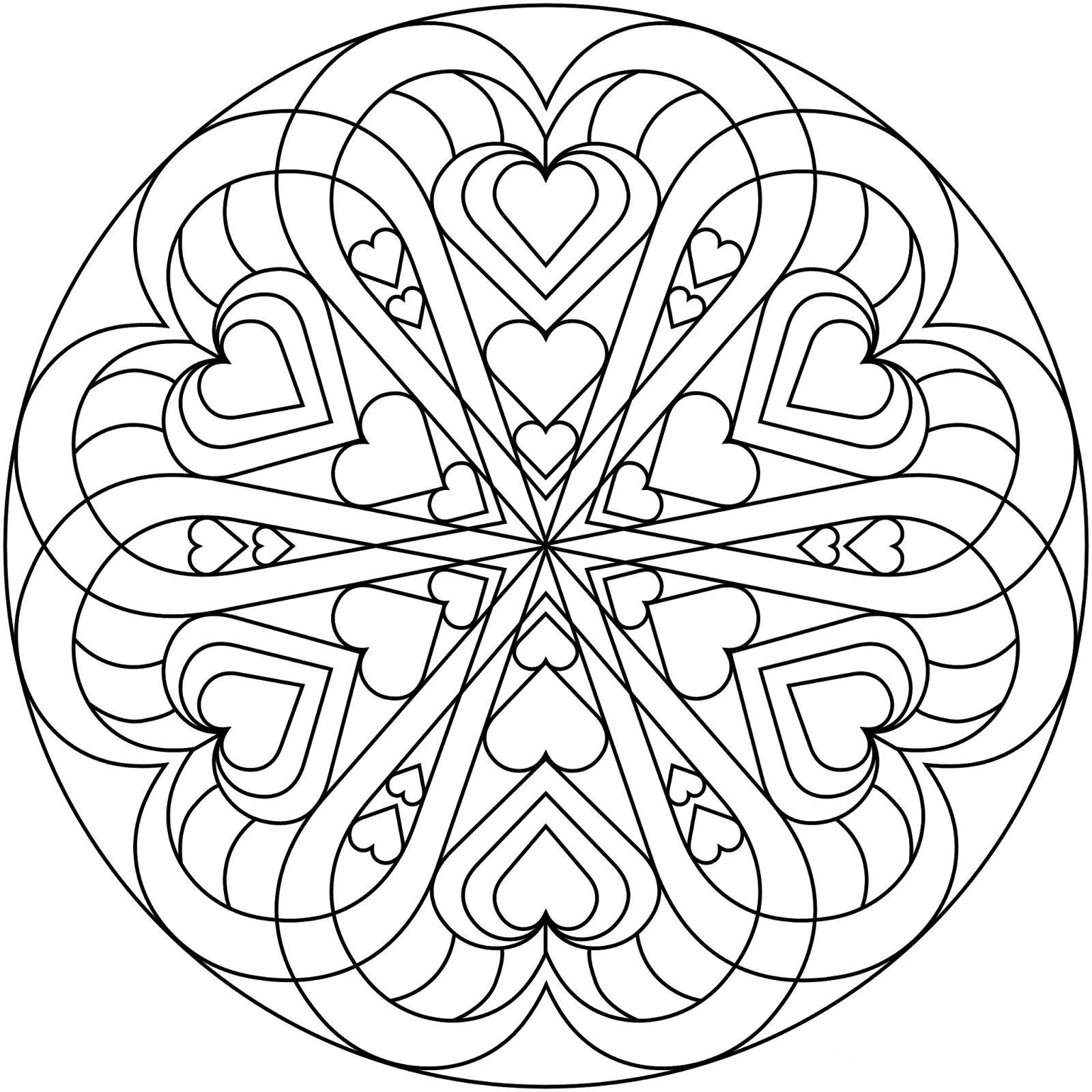 Круг с сердечками | Книжка-раскраска, Раскраски, Мандала