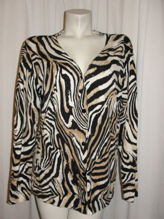 Additions by Chicos Size 3 XL Brown Black Animal Print Gemmed Cardigan Sweater #Chicos #Cardigan