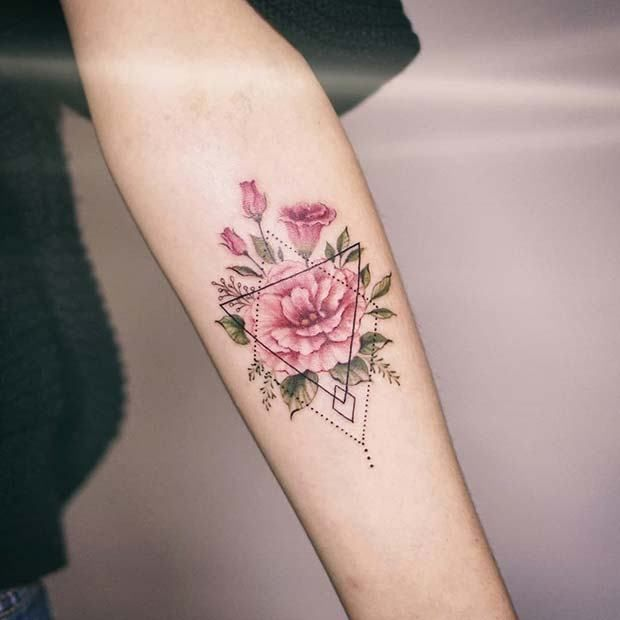 10 Floral Tattoo Artists You Could Trust Your Skin To: 5. Flower Tattoo With Geometric Pattern