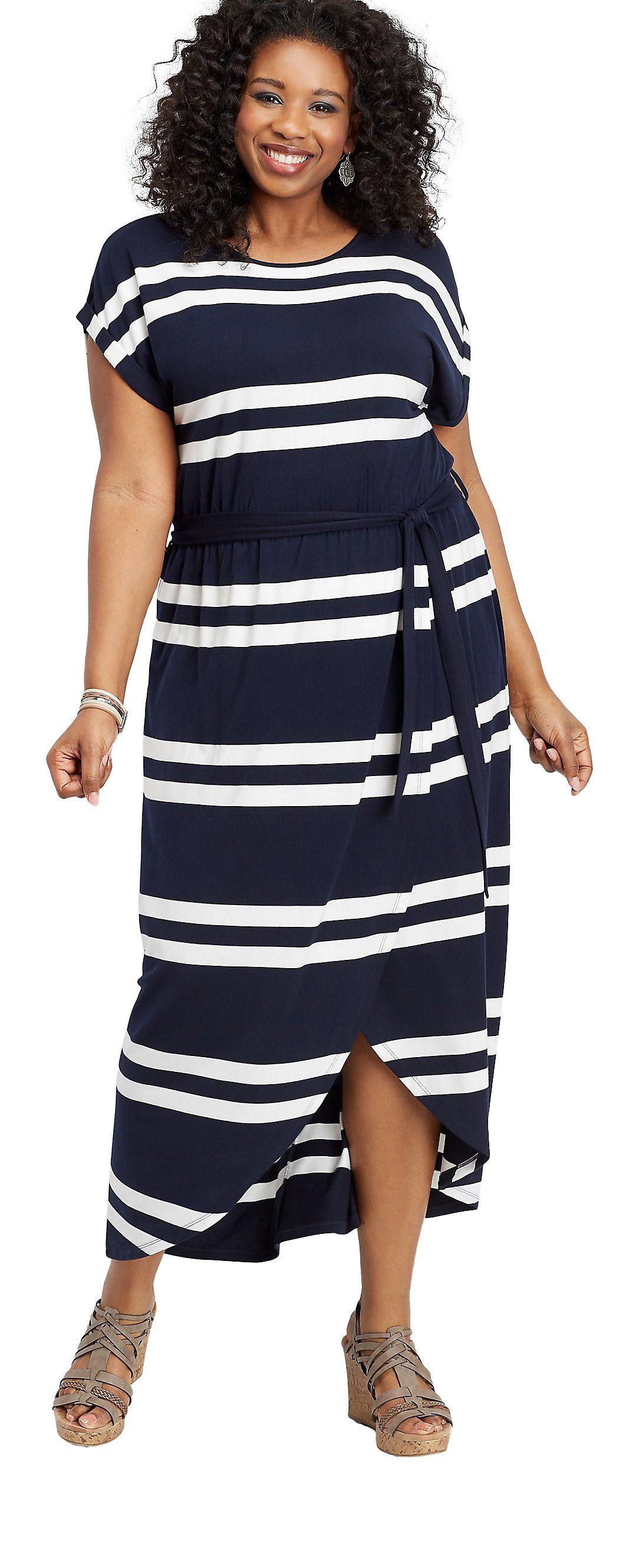 Plus Size Stripe Maxi Dress Sponsored Plussize Walmartfashion Wedressamerica Midi Short Sleeve Dress Hem Dress Short Sleeve Dresses [ 2661 x 1084 Pixel ]
