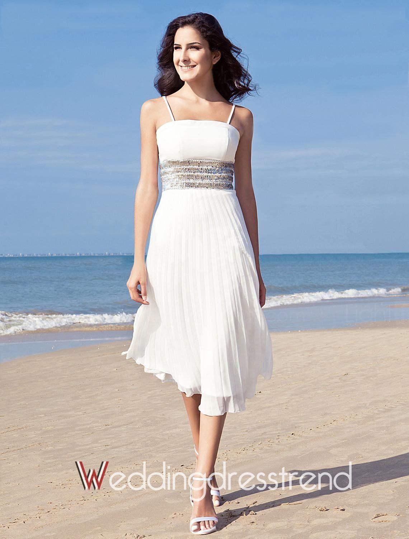 119.00] Unique A-Line Straps Tea-Length Chiffon Beach Wedding Dress ...