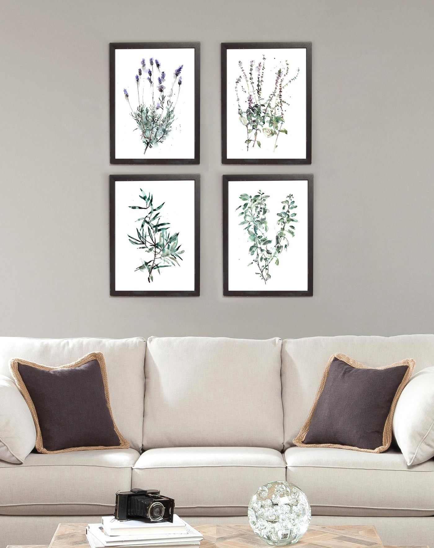 Leaves Wall Art Set Of 4 Prints Of Sage Lavender Olive And Etsy Leaf Wall Art Wall Art Sets Illustration Wall Art #wall #art #sets #for #living #room