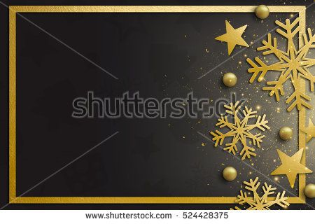 elegant merry christmas and happy new year background with gold star and snowflakes decoration space for text
