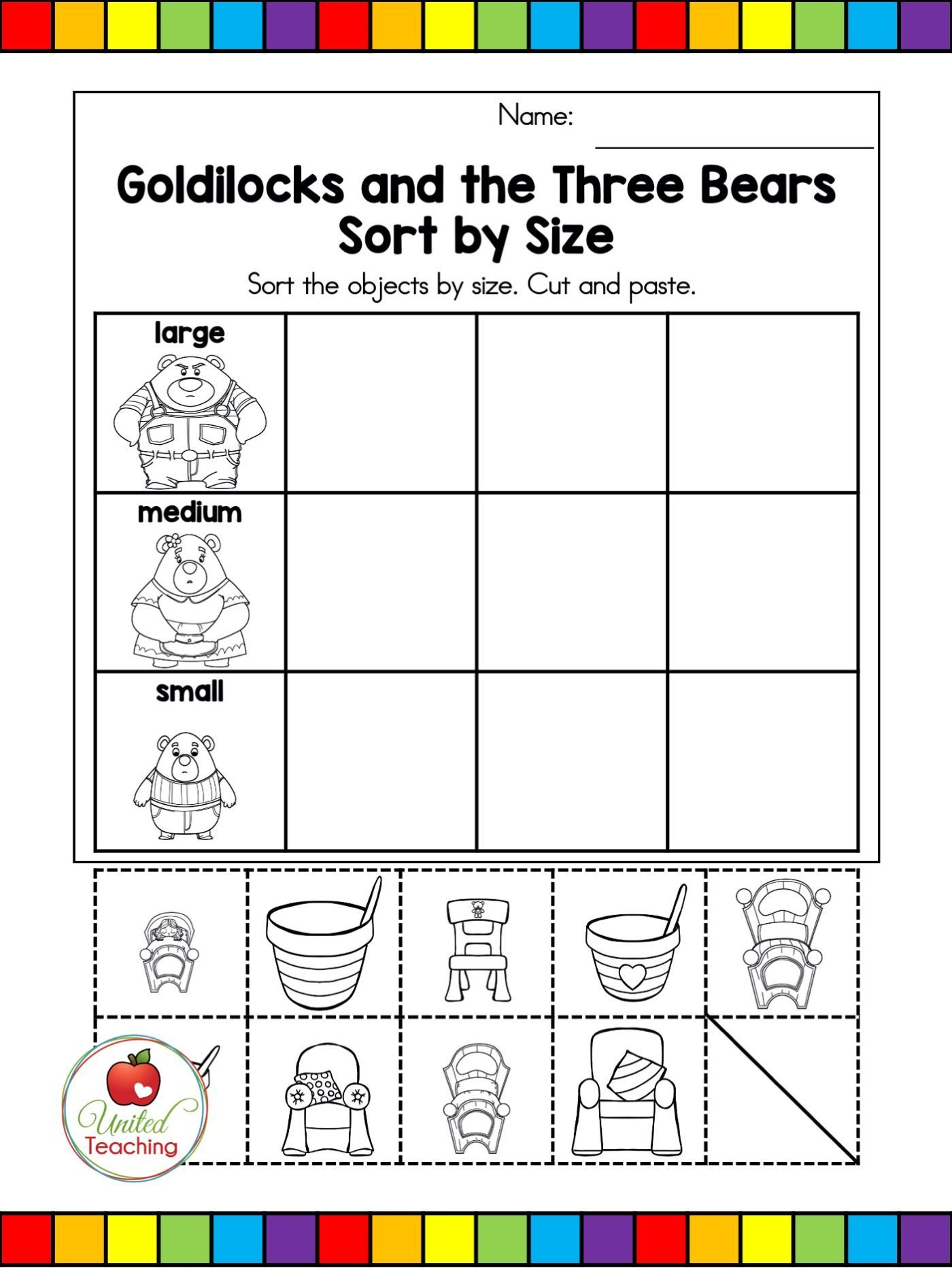 Fairy Tale Activities For Goldilocks And The Three Bears